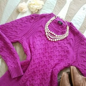 J CREW chunky knit fuschia scoop neck sweater
